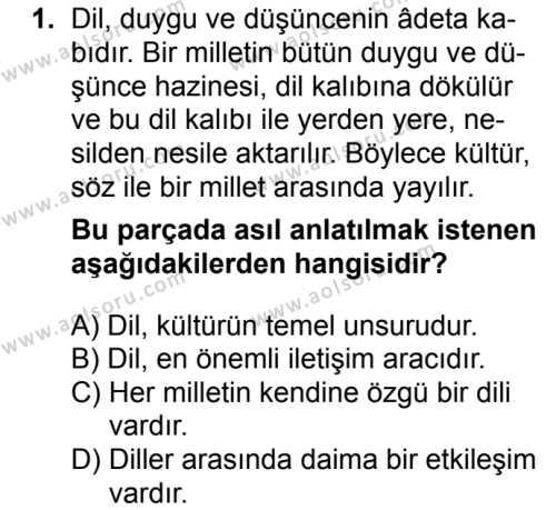 Türk Dili ve Edebiyatı 1 Dersi 2016 - 2017 Yılı 1. Dönem Sınav Soruları 1. Soru