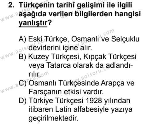 Türk Dili ve Edebiyatı 1 Dersi 2016 - 2017 Yılı 1. Dönem Sınav Soruları 2. Soru