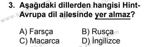 Türk Dili ve Edebiyatı 1 Dersi 2016 - 2017 Yılı 1. Dönem Sınav Soruları 3. Soru