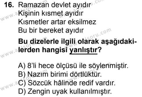 Türk Dili ve Edebiyatı 1 Dersi 2016-2017 Yılı 1. Dönem Sınavı 16. Soru