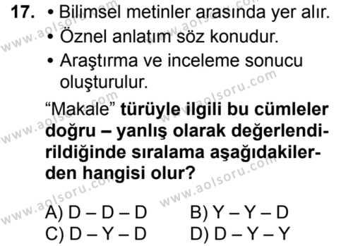 Türk Dili ve Edebiyatı 1 Dersi 2016-2017 Yılı 1. Dönem Sınavı 17. Soru