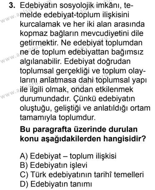 Türk Dili ve Edebiyatı 1 Dersi 2017-2018 Yılı 1. Dönem Sınavı 3. Soru