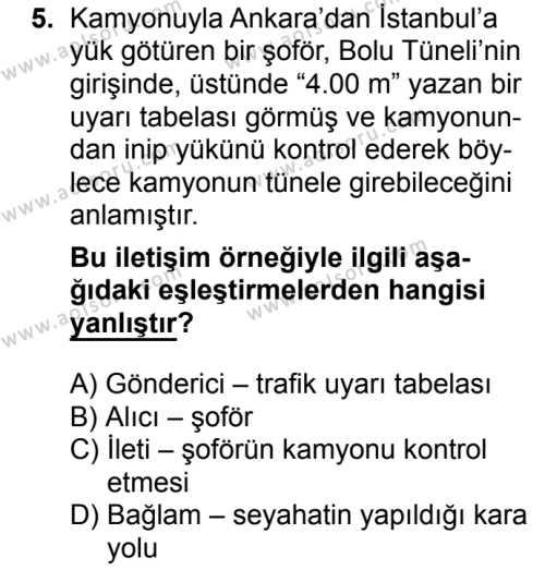 Türk Dili ve Edebiyatı 1 Dersi 2017-2018 Yılı 1. Dönem Sınavı 5. Soru