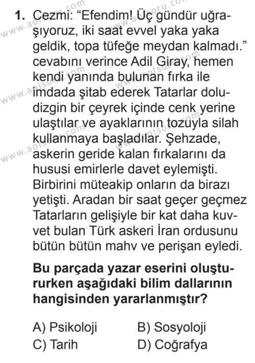 Türk Dili ve Edebiyatı 1 Dersi 2017 - 2018 Yılı 3. Dönem Sınavı 1. Soru