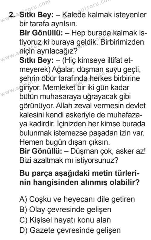 Türk Dili ve Edebiyatı 1 Dersi 2017 - 2018 Yılı 3. Dönem Sınavı 2. Soru