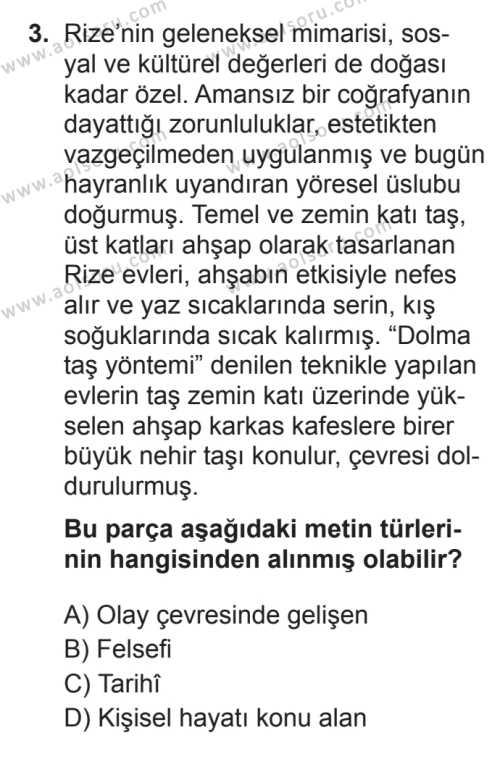 Türk Dili ve Edebiyatı 1 Dersi 2017 - 2018 Yılı 3. Dönem Sınavı 3. Soru