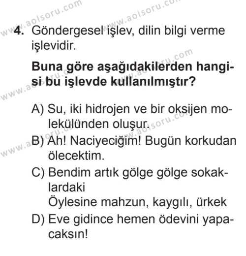Türk Dili ve Edebiyatı 1 Dersi 2017 - 2018 Yılı 3. Dönem Sınavı 4. Soru