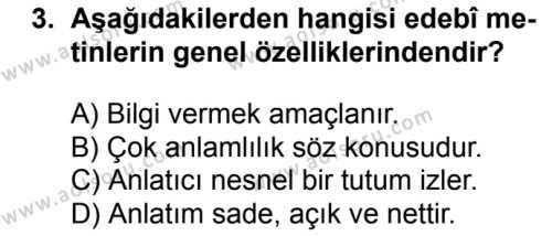 Türk Dili ve Edebiyatı 1 Dersi 2018 - 2019 Yılı 1. Dönem Sınavı 3. Soru