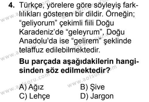 Türk Dili ve Edebiyatı 1 Dersi 2018 - 2019 Yılı 1. Dönem Sınavı 4. Soru