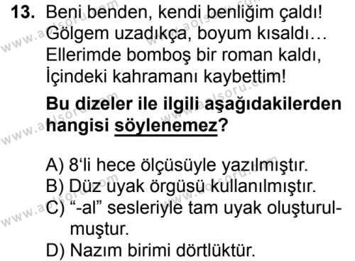 Türk Dili ve Edebiyatı 1 Dersi 2018-2019 Yılı 1. Dönem Sınavı 13. Soru