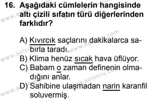 Türk Dili ve Edebiyatı 1 Dersi 2018-2019 Yılı 1. Dönem Sınavı 16. Soru