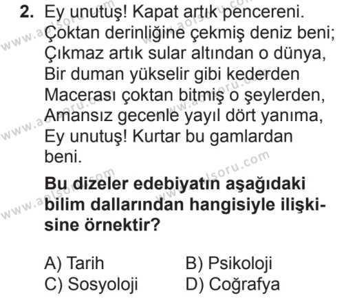 Türk Dili ve Edebiyatı 1 Dersi 2018 - 2019 Yılı 2. Dönem Sınavı 2. Soru