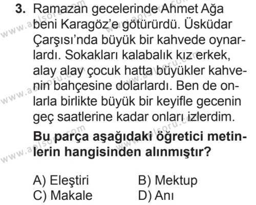 Türk Dili ve Edebiyatı 1 Dersi 2018 - 2019 Yılı 2. Dönem Sınavı 3. Soru