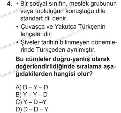 Türk Dili ve Edebiyatı 1 Dersi 2018 - 2019 Yılı 2. Dönem Sınavı 4. Soru