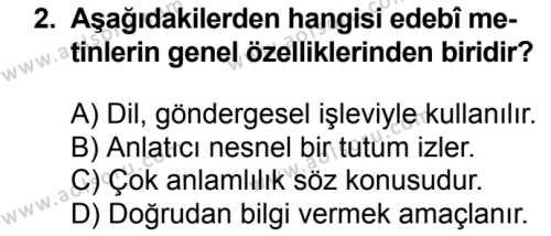 Türk Dili ve Edebiyatı 1 Dersi 2018 - 2019 Yılı 3. Dönem Sınavı 2. Soru