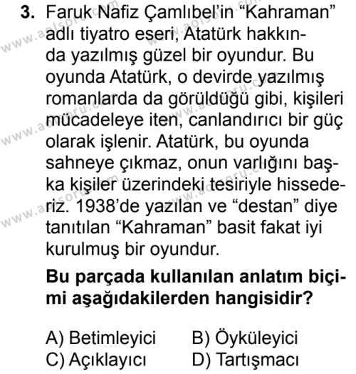 Türk Dili ve Edebiyatı 1 Dersi 2018 - 2019 Yılı 3. Dönem Sınavı 3. Soru
