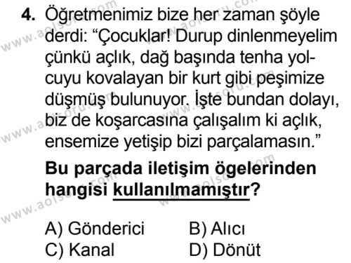 Türk Dili ve Edebiyatı 1 Dersi 2018 - 2019 Yılı 3. Dönem Sınavı 4. Soru