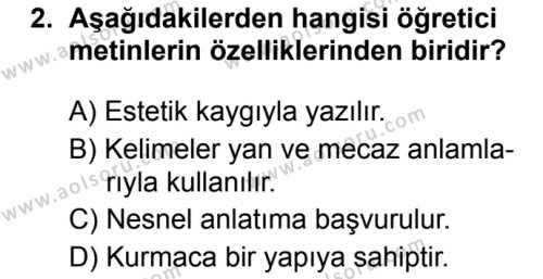 Türk Dili ve Edebiyatı 1 Dersi 2019 - 2020 Yılı 1. Dönem Sınav Soruları 2. Soru