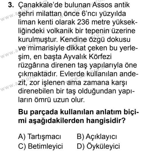 Türk Dili ve Edebiyatı 1 Dersi 2019 - 2020 Yılı 1. Dönem Sınav Soruları 3. Soru