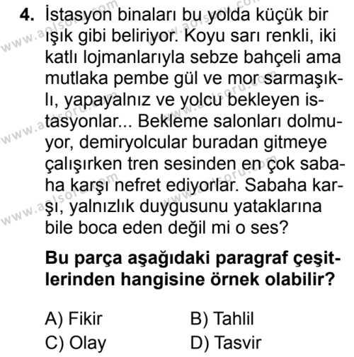 Türk Dili ve Edebiyatı 1 Dersi 2019 - 2020 Yılı 1. Dönem Sınav Soruları 4. Soru