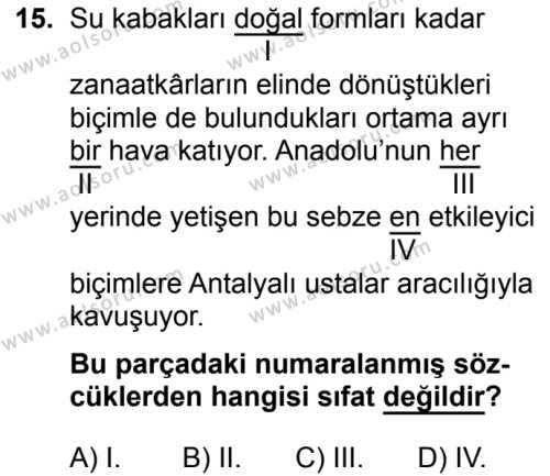 Türk Dili ve Edebiyatı 1 Dersi 2019-2020 Yılı 1. Dönem Sınavı 15. Soru