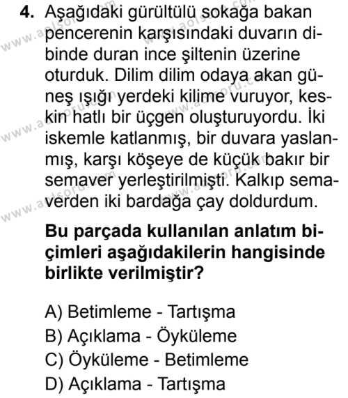 Türk Dili ve Edebiyatı 1 Dersi 2019 - 2020 Yılı 2. Dönem Sınav Soruları 4. Soru