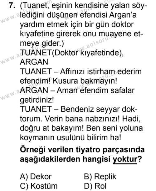 Türk Dili ve Edebiyatı 2 Dersi 2017-2018 Yılı 1. Dönem Sınavı 7. Soru