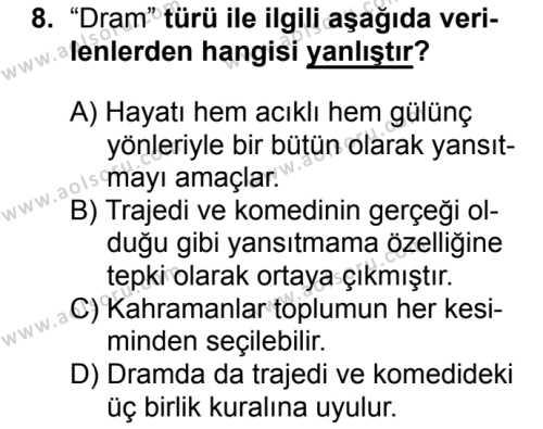 Türk Dili ve Edebiyatı 2 Dersi 2017-2018 Yılı 1. Dönem Sınavı 8. Soru