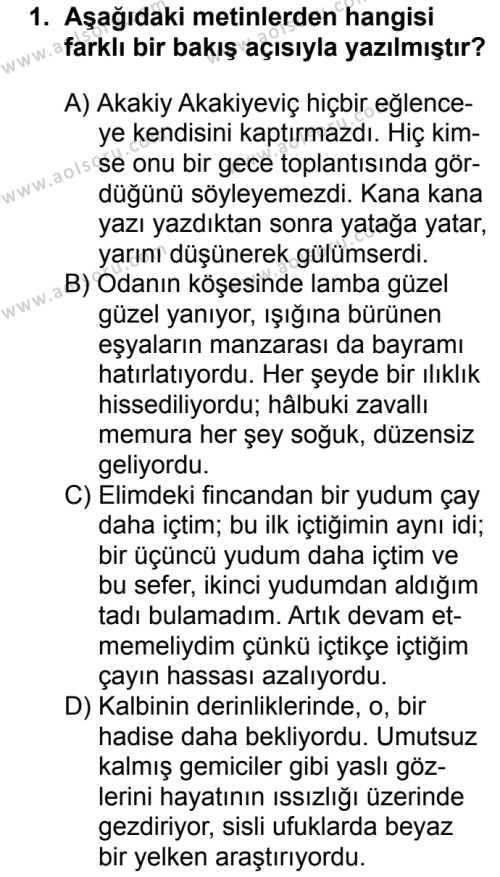 Türk Dili ve Edebiyatı 2 Dersi 2017 - 2018 Yılı 2. Dönem Sınavı 1. Soru
