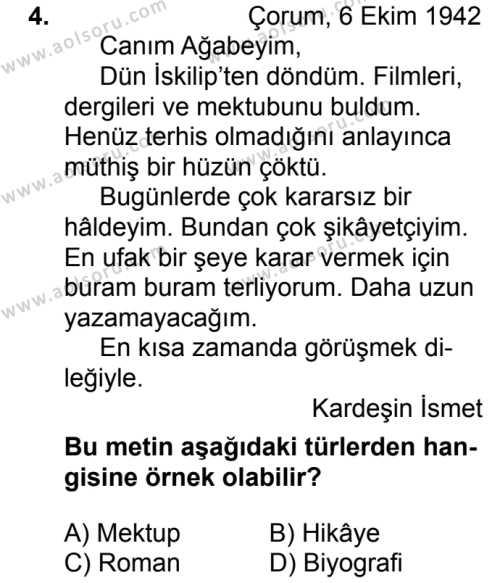 Türk Dili ve Edebiyatı 2 Dersi 2017 - 2018 Yılı 2. Dönem Sınavı 4. Soru