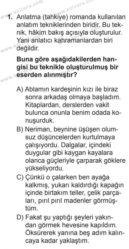 Türk Dili ve Edebiyatı 2 Dersi 2017 - 2018 Yılı 3. Dönem Sınavı 1. Soru