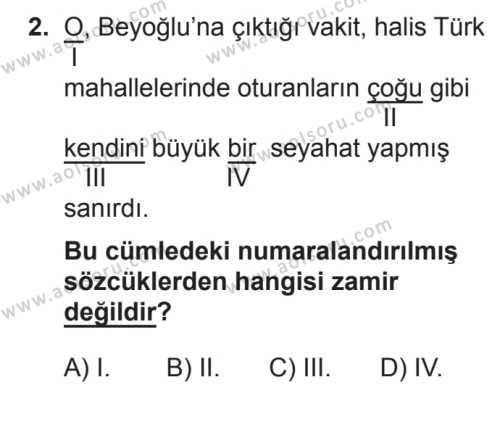 Türk Dili ve Edebiyatı 2 Dersi 2017 - 2018 Yılı 3. Dönem Sınavı 2. Soru