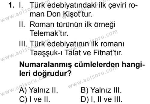 Türk Dili ve Edebiyatı 2 Dersi 2018 - 2019 Yılı 1. Dönem Sınavı 1. Soru