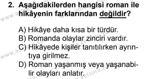 Türk Dili ve Edebiyatı 2 Dersi 2018 - 2019 Yılı 1. Dönem Sınavı 2. Soru