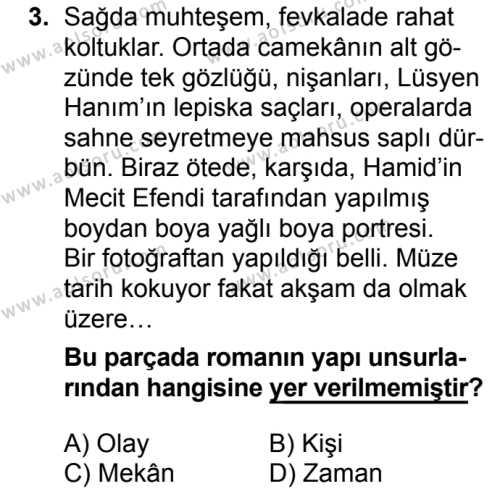 Türk Dili ve Edebiyatı 2 Dersi 2018 - 2019 Yılı 1. Dönem Sınavı 3. Soru