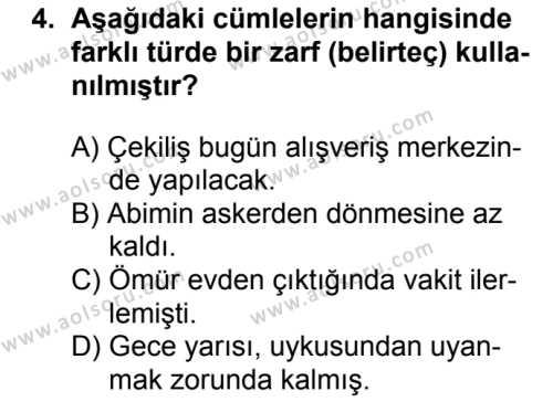 Türk Dili ve Edebiyatı 2 Dersi 2018 - 2019 Yılı 1. Dönem Sınavı 4. Soru