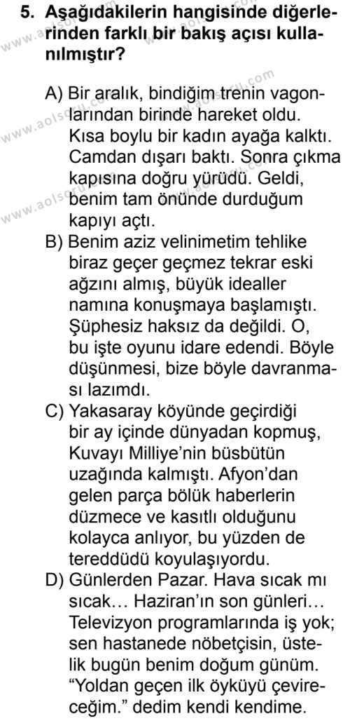 Türk Dili ve Edebiyatı 2 Dersi 2018-2019 Yılı 1. Dönem Sınavı 5. Soru