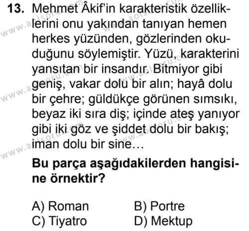 Türk Dili ve Edebiyatı 2 Dersi 2018-2019 Yılı 1. Dönem Sınavı 13. Soru