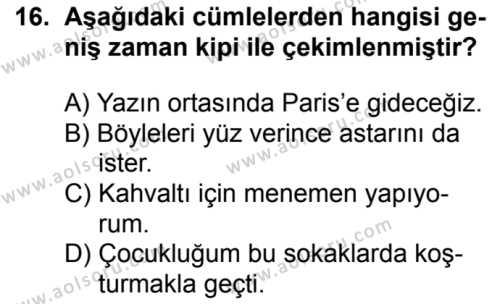 Türk Dili ve Edebiyatı 2 Dersi 2018-2019 Yılı 1. Dönem Sınavı 16. Soru