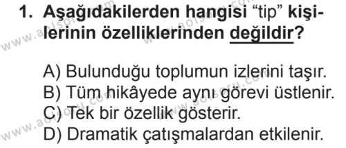 Türk Dili ve Edebiyatı 2 Dersi 2018 - 2019 Yılı 2. Dönem Sınavı 1. Soru