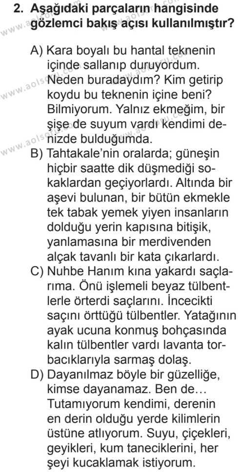 Türk Dili ve Edebiyatı 2 Dersi 2018 - 2019 Yılı 2. Dönem Sınavı 2. Soru