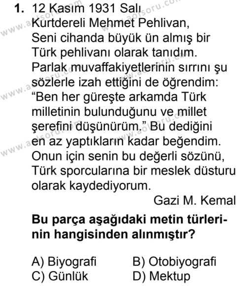 Türk Dili ve Edebiyatı 2 Dersi 2018 - 2019 Yılı 3. Dönem Sınav Soruları 1. Soru