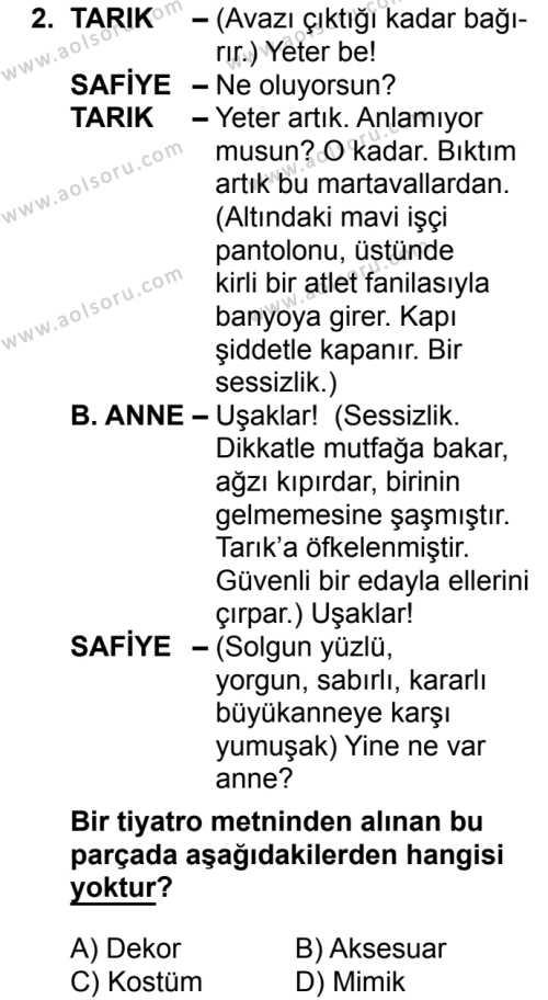 Türk Dili ve Edebiyatı 2 Dersi 2018 - 2019 Yılı 3. Dönem Sınav Soruları 2. Soru