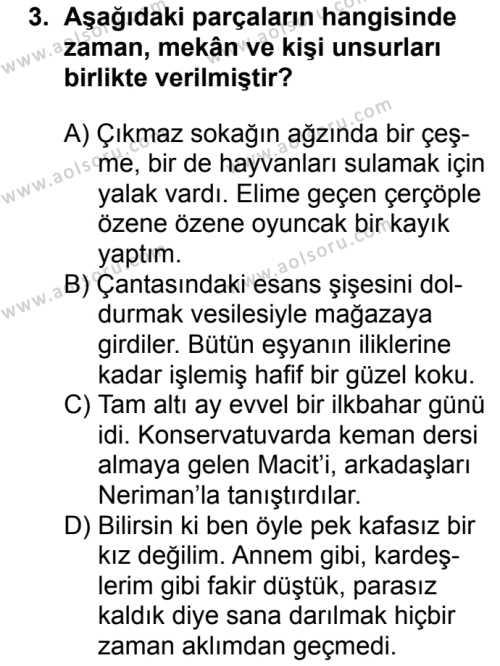 Türk Dili ve Edebiyatı 2 Dersi 2018 - 2019 Yılı 3. Dönem Sınav Soruları 3. Soru