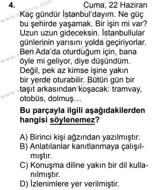 Türk Dili ve Edebiyatı 2 Dersi 2018 - 2019 Yılı 3. Dönem Sınav Soruları 4. Soru