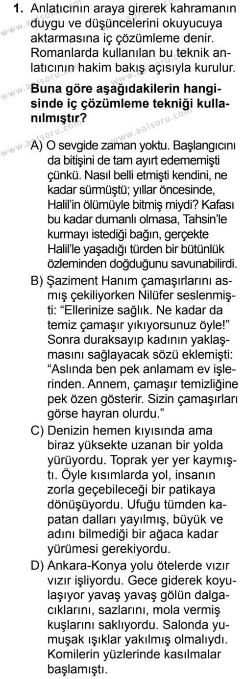 Türk Dili ve Edebiyatı 2 Dersi 2019 - 2020 Yılı 1. Dönem Sınav Soruları 1. Soru