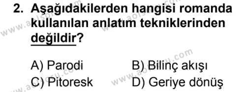 Türk Dili ve Edebiyatı 2 Dersi 2019 - 2020 Yılı 1. Dönem Sınav Soruları 2. Soru