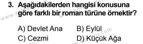 Türk Dili ve Edebiyatı 2 Dersi 2019 - 2020 Yılı 1. Dönem Sınav Soruları 3. Soru