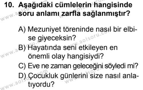Türk Dili ve Edebiyatı 2 Dersi 2019-2020 Yılı 1. Dönem Sınavı 10. Soru