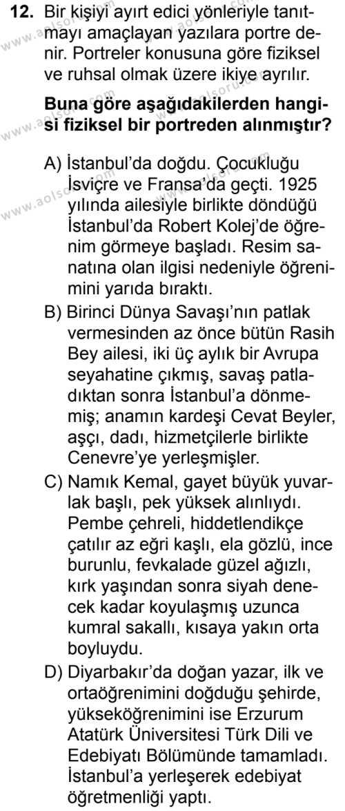 Türk Dili ve Edebiyatı 2 Dersi 2019-2020 Yılı 1. Dönem Sınavı 12. Soru